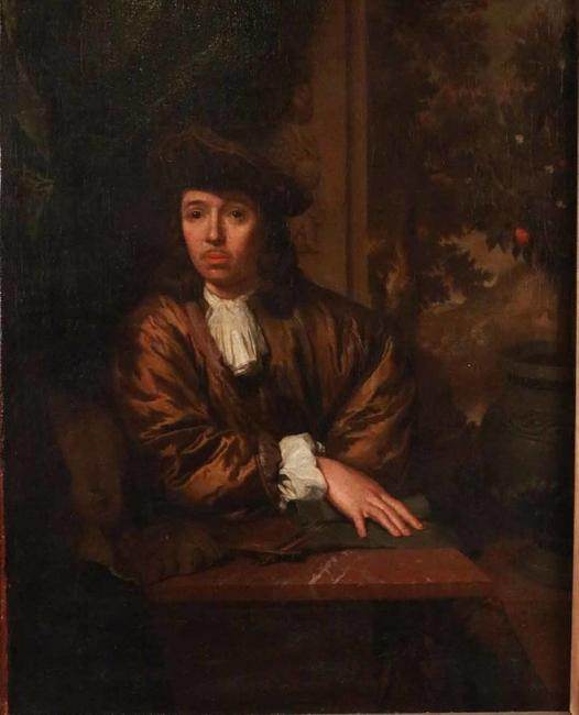 "Oil on canvas Portrait of an Artist from the Circle of Caspar Netscher (Heidelberg 1639-1684 The Hague, the Netherlands).  The half-length portrait is signed ""Netscher f""."