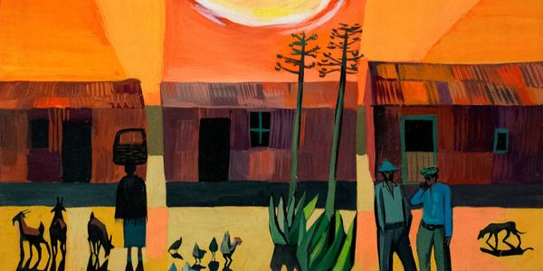 Peter Clarke (South African, 1929-2014) That Evening Sun Goes Down, 1960.  Gouache on paper.  Fisk University Galleries, Nashville.  Gift of Harmon Foundation.