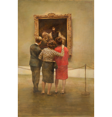 Paul Lewis Clemens (1911-1992), Viewing of the Old Masters, 1973, Oil on Masonite 33 x 22 7/8 inches.  The Estate of Laura M.  Mako.  Lot 15.  Ext.  $2,000-4,000.