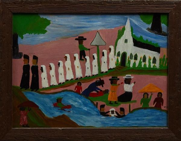 Oil on board painting by Louisiana folk artist Clementine Hunter (1886-1988), titled Baptism (circa 1950), signed lower right,17 ½ inches by 23 ½ inches (est.  $3,000-$5,000).