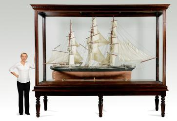 Large 20th century model of the three-masted clipper ship Thermopylae of the Aberdeen line with an overall size including stand of 145 ½ inches tall by 121 inches long (est.  $7,000-$9,000).