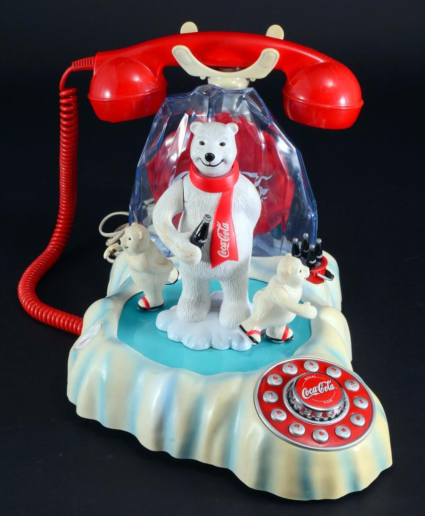 Coca-Cola animated polar bear telephone, one of many Coke collectibles (and novelty phones) in the auction.