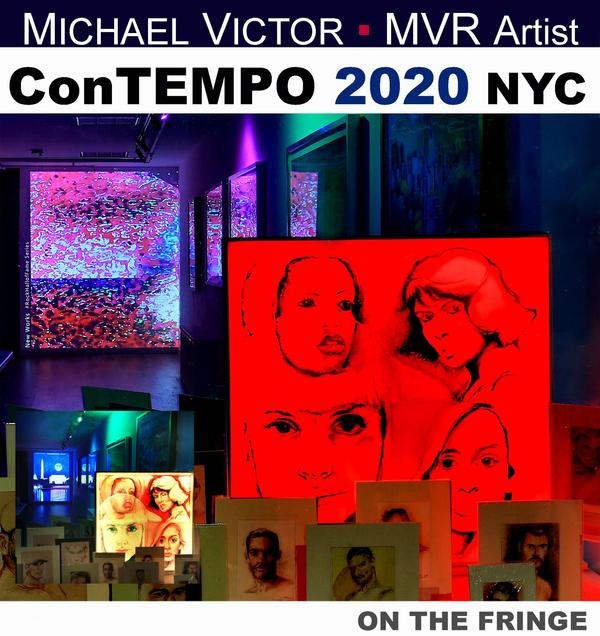 This exhibit developed in response to the Covid-19 crisis in NYC unfolding daily right outside these windows.  Being Women's History Month, Artist MVR lights up with spirit of caregiving and activism associated with it.  It was M·A·R·C·H! 2020.