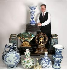 Owner Todd Converse with some of the items up for bid in his Important Spring Chinese Auction, set for Friday, May 4th.