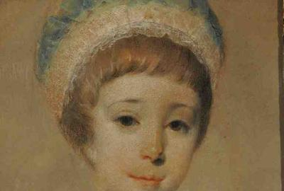 Portrait of a young lady with a bird pastel, dated and signed in right corner 1760