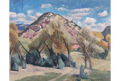 "Russell Cowles, Mountain Landscape Springtime, Oil on wood panel, 24"" x 30"""