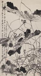 Okuhara Seiko, Lotus in Autumn, Japanese, Meiji era, 1872.  Hanging scroll; ink on paper.  Harvard Art Museums, Promised gift of Robert S.  and Betsy G.  Feinberg, TL42147.29.
