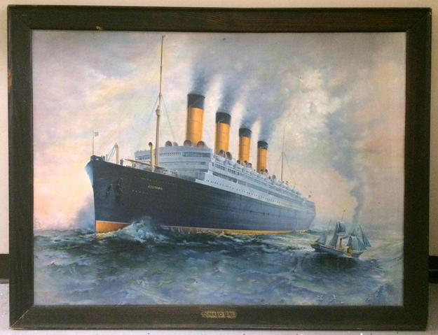 Ocean liner memorabilia and travel posters will include this Cunard Line tin sign.
