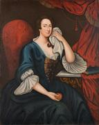 Joyce Armistead Booth (Mrs.  Mordecai Booth) by William Dering (active 1734/1735-1755), oil on canvas, Williamsburg, Virginia, ca.  1745.  Gift of Julia Miles Brock, Edward Taliaferro Miles and Georginana Serpell Miles in memory of their mother, Alice Taliaferro Miles, 2018-165, A&B