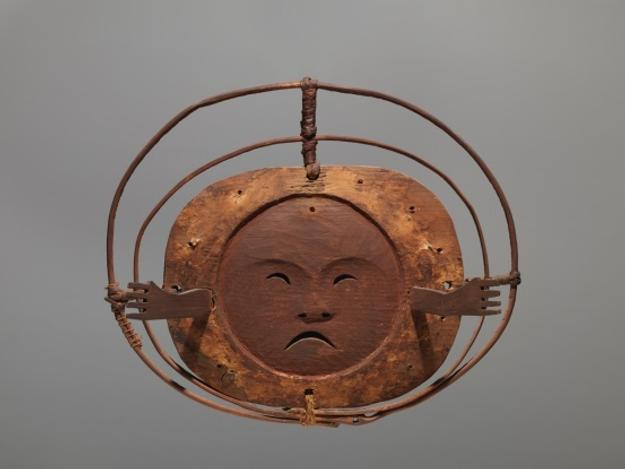 "Mask, Yup'ik Kuskokwim River, Alaska, ca.  1880 wood, pigments, vegetal fibers, 11 ¼"" w Ex collection: Enrico Donati"