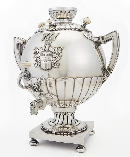 Fabergé Silver Samovar, Moscow, 1908-1917, Coat of arms of the Berdyaev family.  Est.  $35,000-55,000