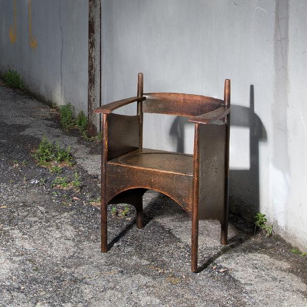 Charles Rennie Mackintosh Stained Oak Armchair, circa 1897.  Est.  $40,000-60,000