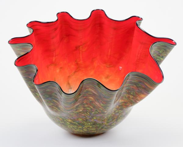 "Dale Chihuly (American, b.1941) Monumental Carmine Macchia with Navy Lip Wrap, series M, 2000.  Provenance: Chihuly Studio.  Size: 21"" x 28"" x 33"" Est.  $15,000-$25,000"