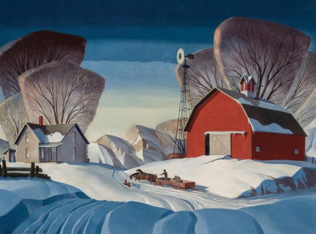 Large-format oil on canvas painting by the American Regionalist painter Dale Nichols (1904-1995), titled Mid-Nation Winter, 30 inches by 40 inches ($120,000).
