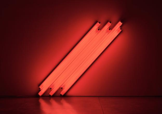 Dan Flavin.  untitled (to V.  Mayakovsky) 1, 1987.  Six 4-foot red fluorescent lights, 48 in.  (122 cm.) on the diagonal.  Courtesy of Zeit Contemporary Art, New York