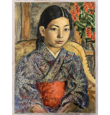"""Beautiful oil on canvas portrait of a Japanese girl by David Burliuk (Ukrainian/American, 1882-1967), 13 inches by 17 inches, signed lower left by Burliuk and dated """"1922"""" ($39,100)."""