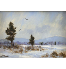 """""""Two Crows"""" by William R.  Davis, estimated at $600/800, in Eldred's Cabin Fever Auction on January 21-22."""