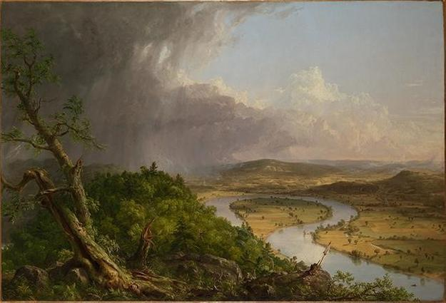 Thomas Cole (American, 1801–1848).  View from Mount Holyoke, Northampton, Massachusetts, after a Thunderstorm—The Oxbow (detail), 1836.  Oil on canvas, 51 1/2 x 76 in.  (130.8 x 193 cm).  The Metropolitan Museum of Art, New York, Gift of Mrs.  Russell Sage, 1908