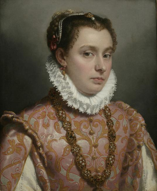 Portrait of a Young Woman, c.  1564–70, by Giovanni Battista Moroni.  Oil on canvas.  Private collection.