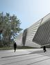 A view of the planned Eli and Edythe Broad Art Museum from the northwest.  Courtesy of Zaha Hadid Architects.