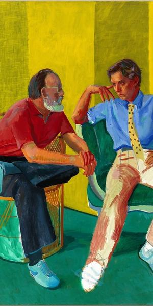 "© David Hockney, The Conversation, 1980.  Acrylic on canvas.  ""A Closer Look: Portraits from the Paul G.  Allen Family Collection"""