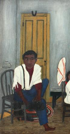 Horace Pippin, American, 1888-1946; Sunday Morning Breakfast, 1943; oil on fabric; 16 x 20 inches; Saint Louis Art Museum, Museum Funds; Friends Fund; Bequest of Marie Setz Hertslet, Museum Purchase, Eliza McMillan Trust, and Gift of Mrs.  Carll Tucker, by exchange 164:2015.