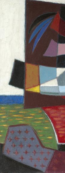 Werner Drewes (1899-1985) Strange Islands- Floating Continents, 1948, oil on canvas, 21 x 36 inches