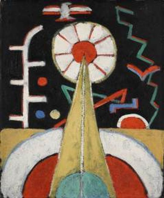 From Jonathan Boos is Marsden Hartley's (American, 1877-1943).  Berlin Series, No.  1.  c.  1913.  Oil on canvas board.  18 x 15 in.
