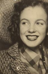 Photo booth self-portrait of Norma Jeane Baker, soon-to-be Hollywood icon Marilyn Monroe, circa 1940, originally given to a family member, which shows the smiling teenager in a wide-brimmed straw hat and lipstick ($8,000 to $12,000).