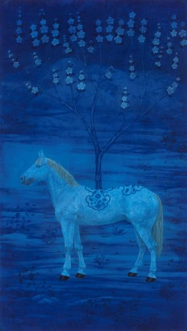 Xu Lei, Tree of Blue Underglaze, 2008, Ink and color on xuan paper, (213 x 125 cm)