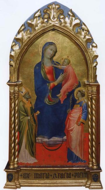 Gherardo di Jacopo Starnina (Florence, documented 1387-1409, died before 1413) Virgin and Child with Saint Nicholas of Bari and Saint Stephen.  Tempera on panel, 37¾ x 19⅞ in, 96 x 50.5 cm.