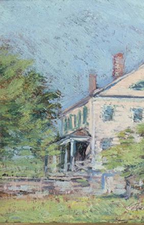 CLARK GREENWOOD VOORHEES (1871-1933) Study for the Chadwick House.  Oil on board.  6 x 8 ½ inches.  Estate stamp verso.