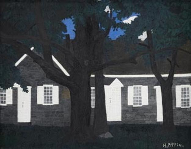Horace Pippin (1888-1946) Birmingham Meeting House III, 1941.  Oil on fabric board, 16 x 20 inches.  Collection of Brandywine River Museum.  Museum Volunteers' Art Purchase Funds and other funds, 2011.