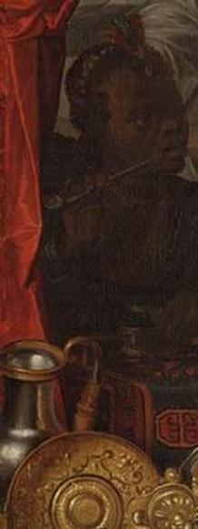 DETAIL: Schilderij, Jacob Waben, Vrouw Wereld, 1622.  151 x 131 cm.  Stolen from the Westfries Museum, Hoorn, in 2005 and known to be in Ukraine, but not yet recovered by the museum.