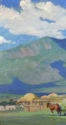 Oscar E.  Berninghaus, Haying Time in Taos (Alfalfa Time/Mountains in Taos),ca.  1928-1930, oil on board Gift of Linda D.  Taplick and James W.  Miller.