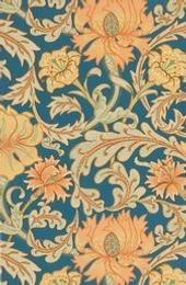 Arts and Crafts style floral paper.  Block printed.  1880-1900.
