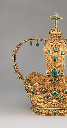 Crown of the Virgin of the Immaculate Conception, known as the Crown of the Andes.  Colombia; Popayán, ca.  1660 (diadem) and ca.  1770 (arches).  Gold, repoussé and chased; emeralds.  Purchase, Lila Acheson Wallace Gift, Acquisitions Fund and Mary Trumbull Adams Fund, 2015