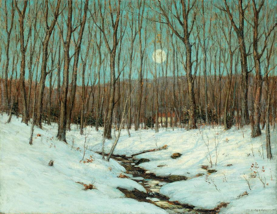 Clark Greenwood Voorhees, Winter Moonrise, c.  1912.  Oil on canvas, 28 x 36 inches.  Signed lower right.  Image Courtesy of Hawthorne Fine Art, LLC
