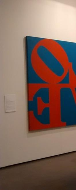 View of the inaugural Art Silicon Valley / San Francisco which Art Miami debuted in October 2014.  On left, Robert Indiana's Imperial Love, 1966, from de Sarthe Gallery.
