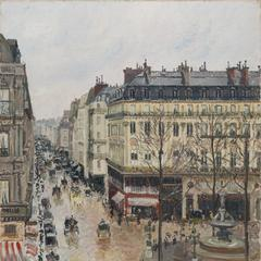 Rue Saint-Honoré in the Afternoon.  Effect of Rain by Camille Pissarro in the Museo Nacional Thyssen-Bornemisza