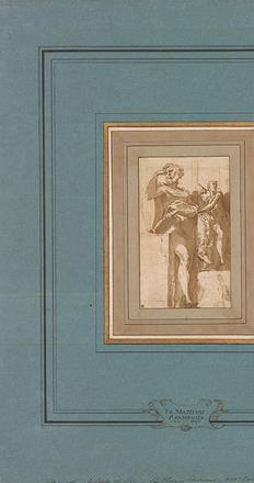 Girolamo Francesco Maria Mazzola, called Il Parmigianino (Parma 1503-1540 Casalmaggiore), Man Standing Beside a Plinth on which He Rests a Book, and a Study of Saint Luke, ca.  1530, Pen and brown ink, brown wash, on paper.  Purchased by Pierpont Morgan (1837–1913) in 1909.  The Morgan Library & Museum.