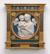 Robbia, Andrea della, Madonna and Child with Cherubim, c.  1485 glazed terracotta Andrew W.  Mellon Collection