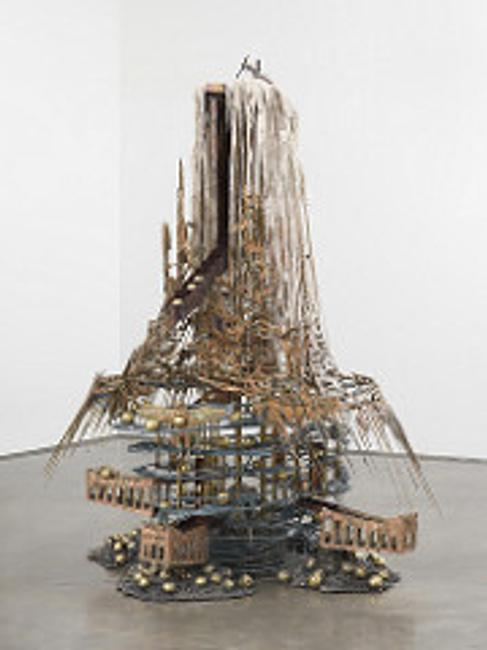 "Diana Al-Hadid ""The Candle Clock in the Citadel,"" 2017 Modified polymer gypsum, fiberglass, brass, copper, steel, concrete, polyurethane foam, plaster, metal leaf, and pigment.  117 x 90 x73 in.  Gift of the Lipman Family Foundation."