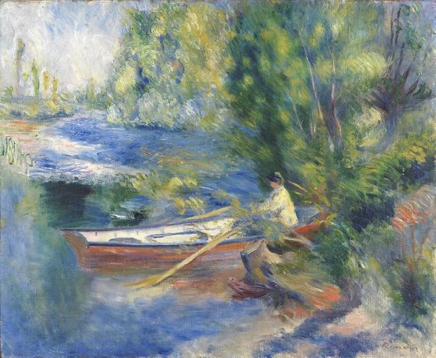 Pierre Auguste Renoir (Limoges 1841-1919 Cagnes-sur-Mer) Au bord de l'Eau.  Oil on canvas, 54.6 x 65.7 cm.  Signed lower right 'Renoir' 1885.