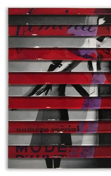 "James Verbicky, Divisionaire 10, Mixed Media with Resin on Panel, 34"" x 72"""
