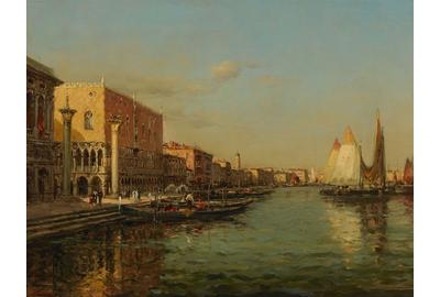 "This exquisite composition entitled ""Doge's Palace"" by Antoine Bouvard details a golden view of Doge's Palace.  His virtuosity and lively brushwork are striking in this luminous oil on canvas"