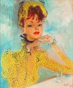 "Femme à la Robe Jaune (Lady in a Yellow Dress) epitomizes Domergue's breathtaking ""la belle Parisienne"".  Signed ""Jean Gabriel Domergue"" (lower right).  Oil on board.  Mid-20th century."