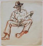 This original pastel painting by Dox Thrash, titled Banjo Player, will be auctioned on Dec.  21st.