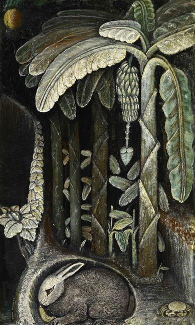 John Dunkley (Jamaica, 1891–1947) Banana Plantation c.  1945 Mixed media on plywood 29 1/8 x 17 5/8 in.  National Gallery of Jamaica, Kingston, gift of Cassie Dunkley Photo by Franz Marzouca