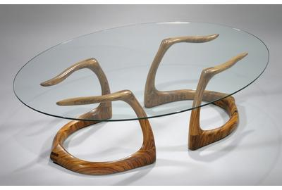 "Zebrawood ""Sternum"" Coffee Table by David Ebner, 1980"